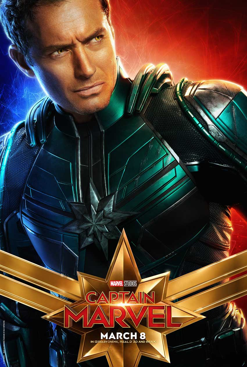 Captain Marvel Jude Law Walter Lawson Mar Vell poster