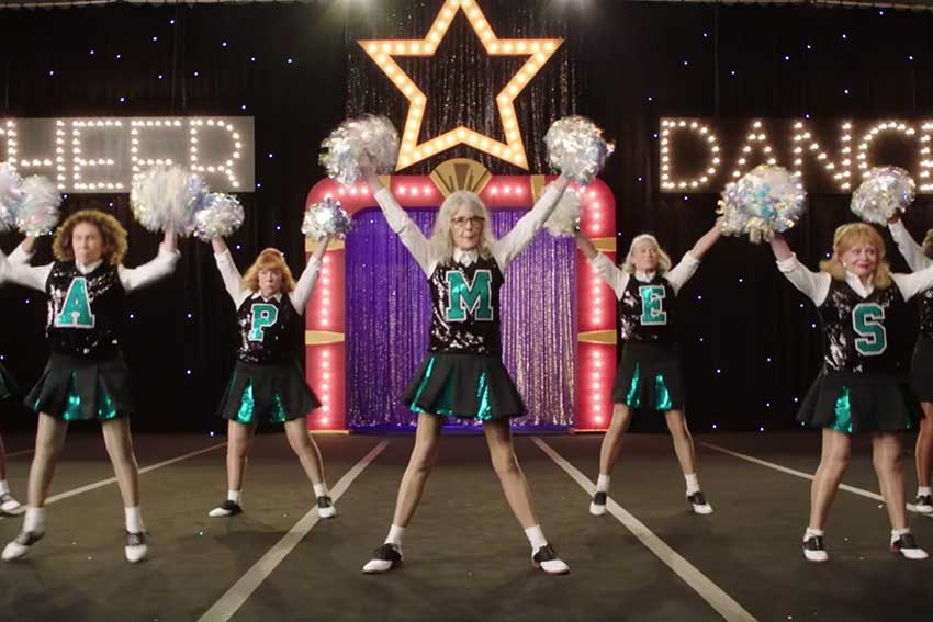 Poms movie cheerleading Diane Keaton