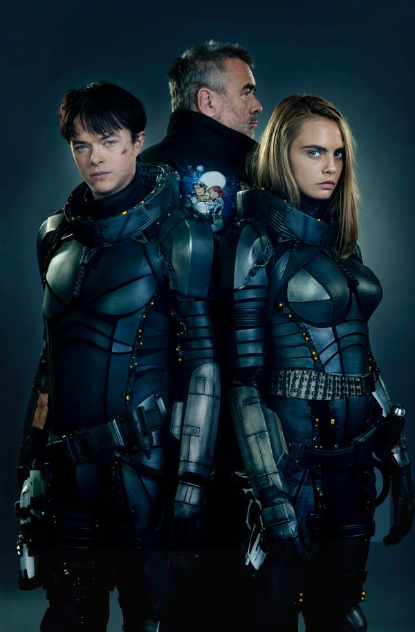 Director Luc Besson, Dane DeHaan and Cara Delevingne