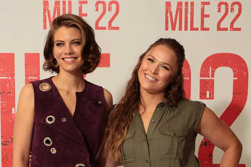Lauren Cohan Ronda Rousey Mile 22 Movie Premiere