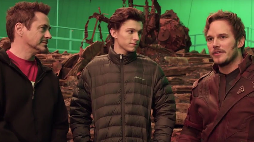 Marvel Avengers Infinity on set Robert Downey, Jr., Tom Holland, Chris Pratt