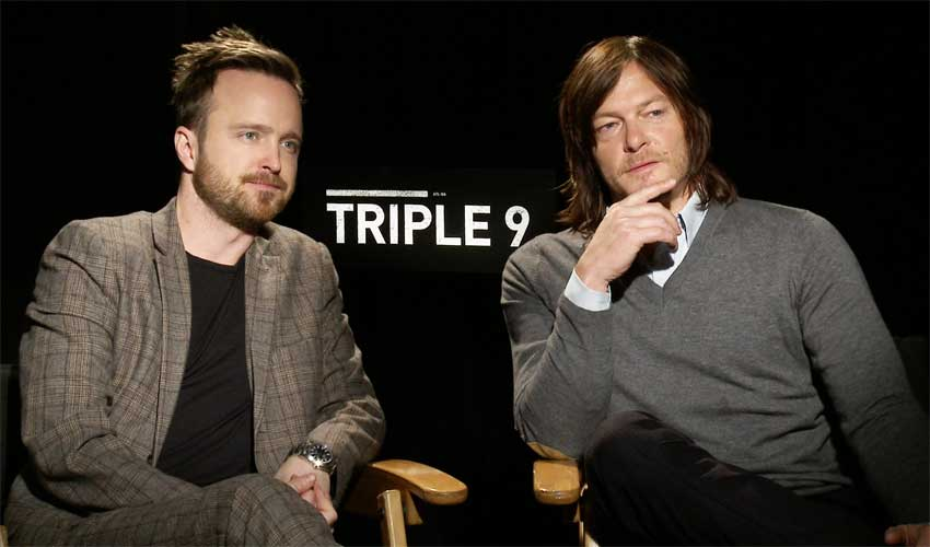 Norman Reedus and Aaron Paul Triple9 interview