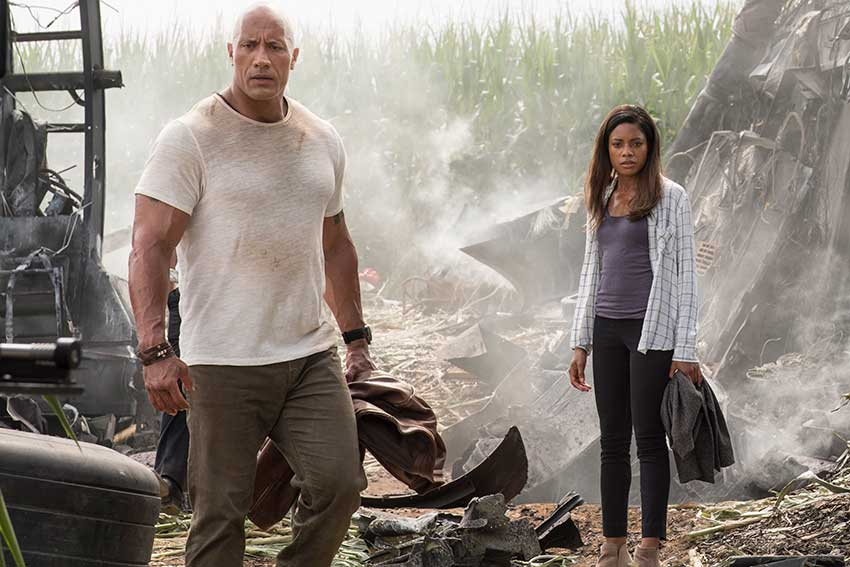 Rampage movie Dwayne Johnson and Naomi Harris