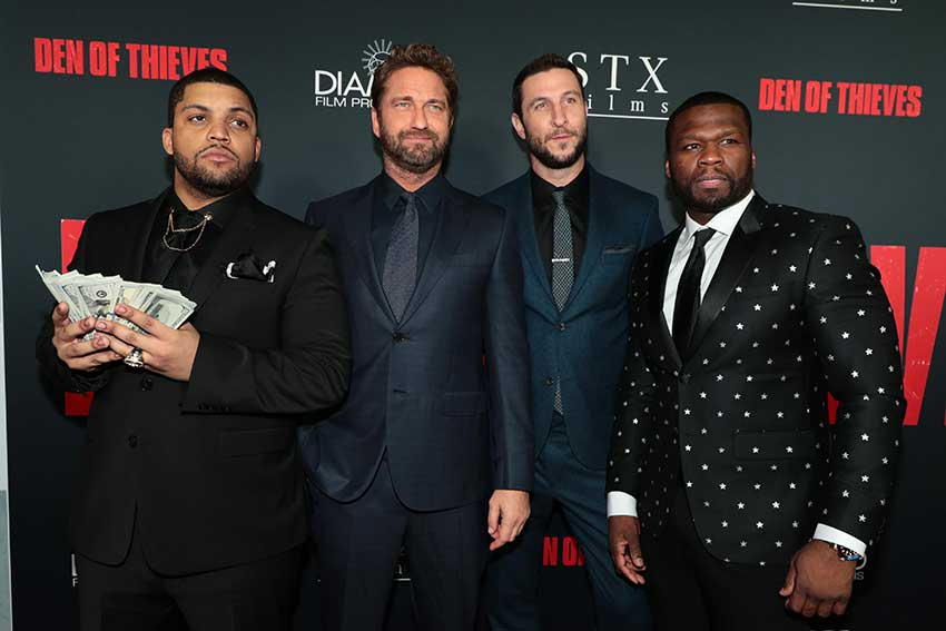 "O'Shea Jackson Jr., Gerard Butler, Pablo Schreiber, and Curtis ""50 Cent"" Jackson attend the Los Angeles Premiere of DEN OF THIEVES at Regal Cinemas LA LIVE on Wednesday, January 17, 2018.  Photo: Eric Charbonneau"