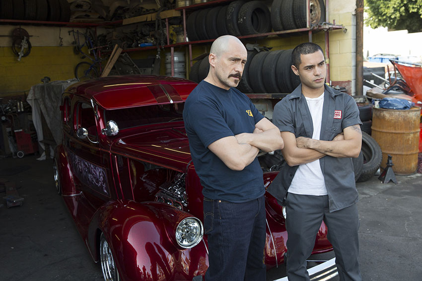 Demian Bichir and Gabriel Chavarria in LOWRIDERS