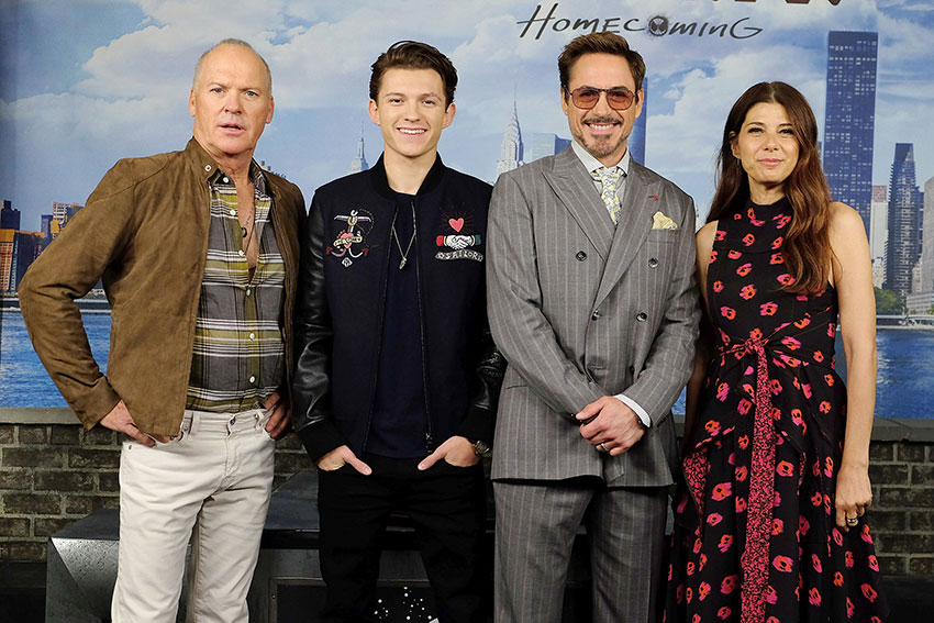 Spider-man: Homecoming Michael Keaton, Tom Holland, Robert Downey Jr, Marisa Tomei at NYC Premiere