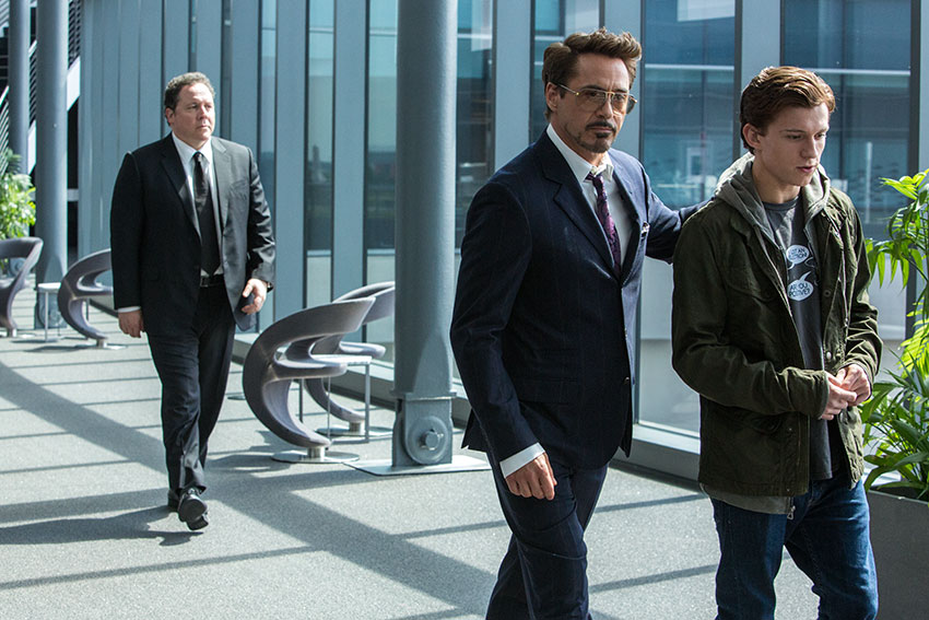 Spider-Man Homecoming Robert Downey, Jr., Tom Holland and Jon Favreau
