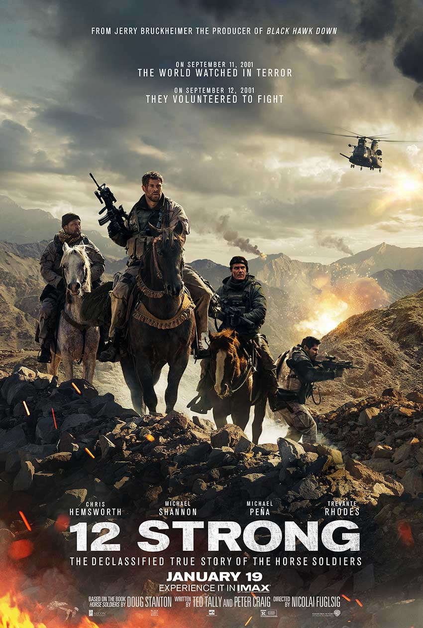 new 12 strong movie poster with chris hemsworth coming soon